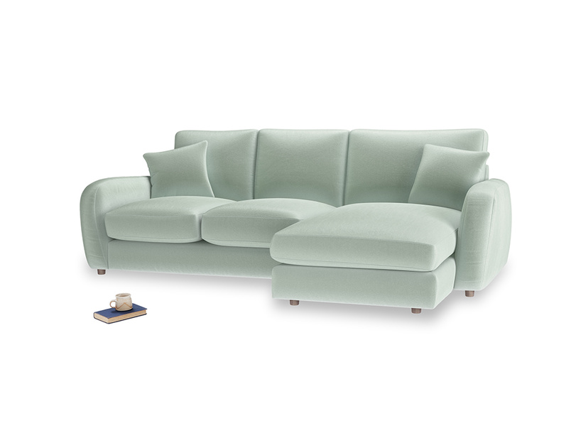 Large right hand Easy Squeeze Chaise Sofa in Mint clever velvet