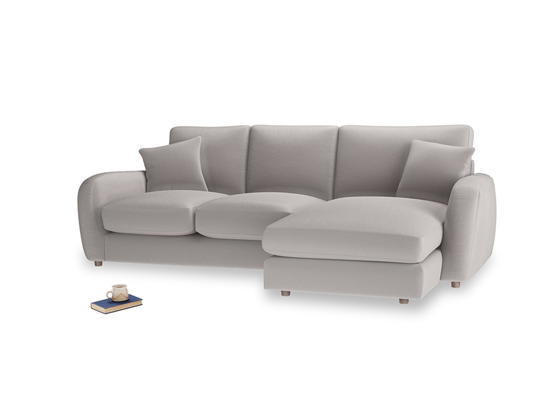 Large right hand Easy Squeeze Chaise Sofa in Mouse grey Clever Deep Velvet