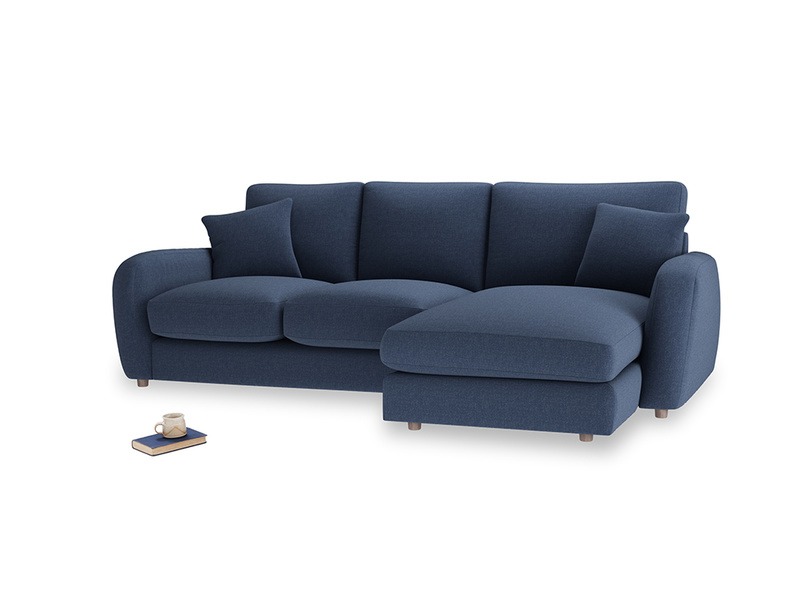 Large right hand Easy Squeeze Chaise Sofa in Navy blue brushed cotton