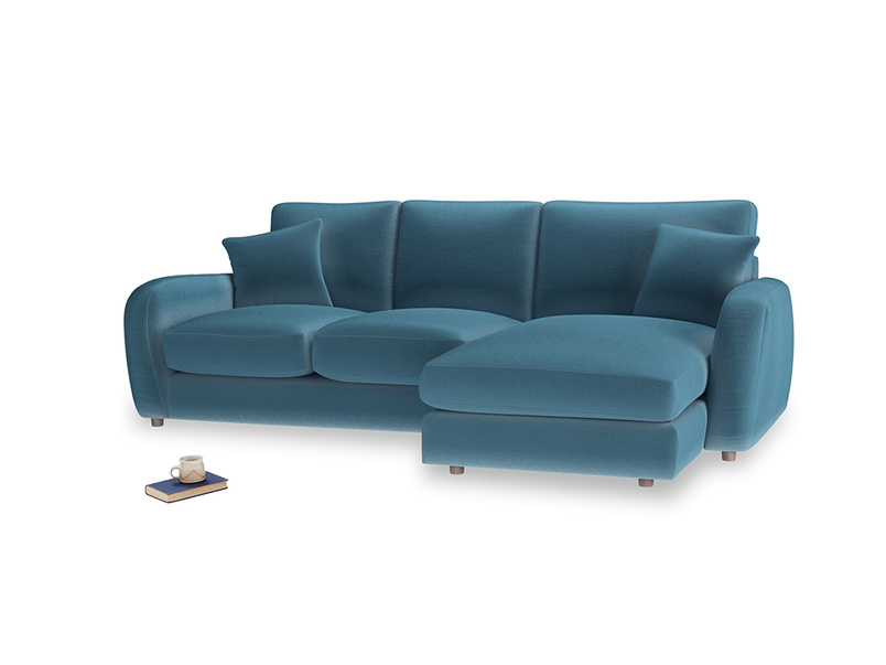 Large right hand Easy Squeeze Chaise Sofa in Old blue Clever Deep Velvet