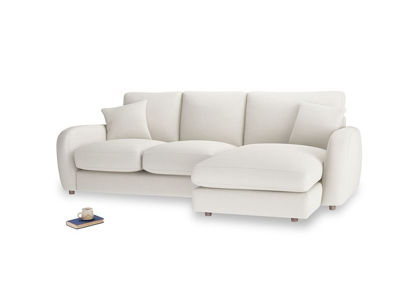 Large right hand Easy Squeeze Chaise Sofa in Oyster white clever linen