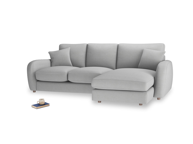 Large right hand Easy Squeeze Chaise Sofa in Pewter Clever Softie