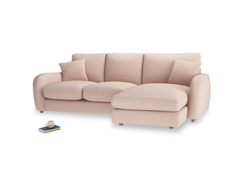 Large right hand Easy Squeeze Chaise Sofa in Pink clay Clever Softie