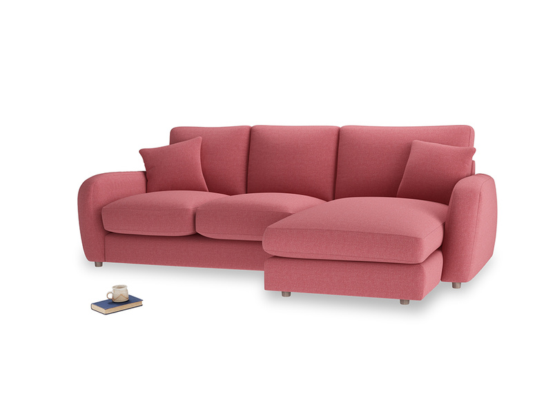 Large right hand Easy Squeeze Chaise Sofa in Raspberry brushed cotton