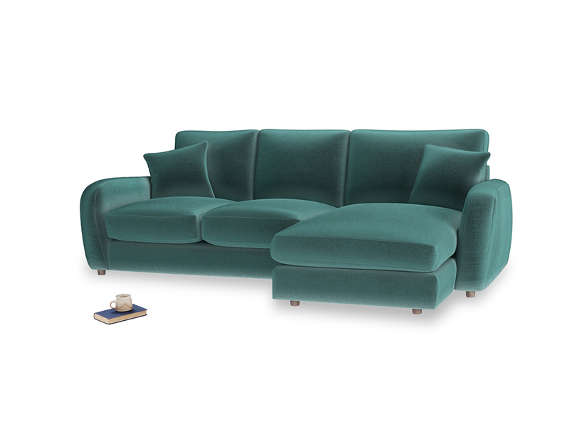 Large right hand Easy Squeeze Chaise Sofa in Real Teal clever velvet