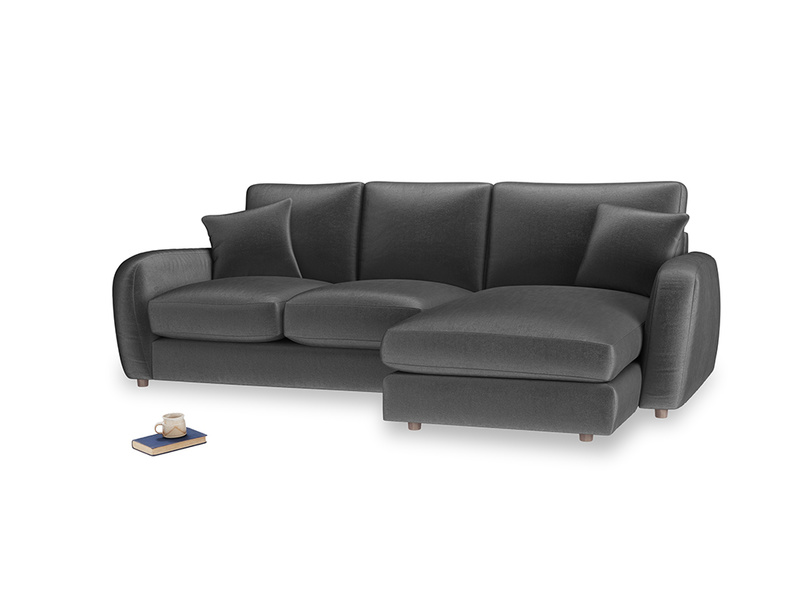 Large right hand Easy Squeeze Chaise Sofa in Scuttle grey vintage velvet