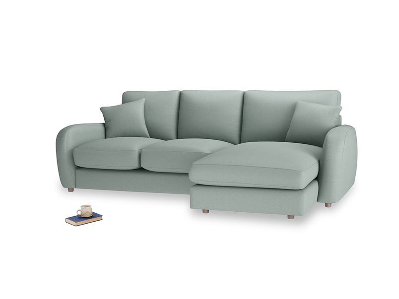 Large right hand Easy Squeeze Chaise Sofa in Sea fog Clever Woolly Fabric