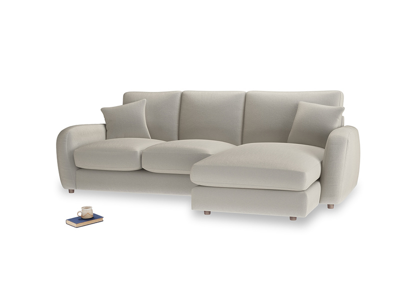 Large right hand Easy Squeeze Chaise Sofa in Smoky Grey clever velvet