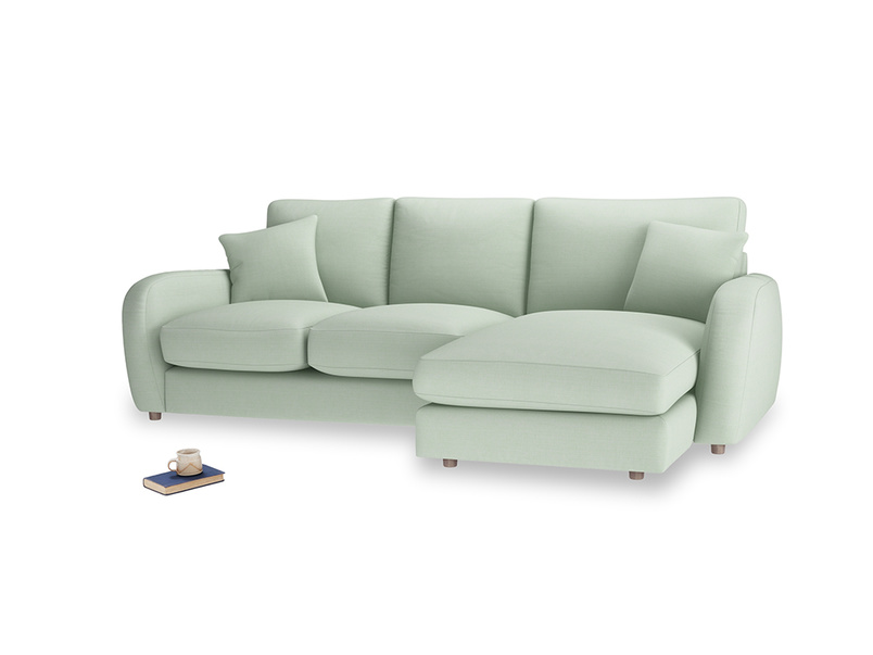 Large right hand Easy Squeeze Chaise Sofa in Soft Green Clever Softie
