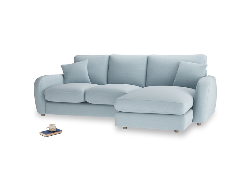 Large right hand Easy Squeeze Chaise Sofa in Soothing blue washed cotton linen