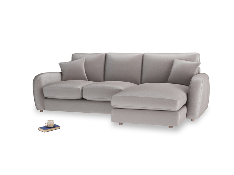Large right hand Easy Squeeze Chaise Sofa in Soothing grey vintage velvet