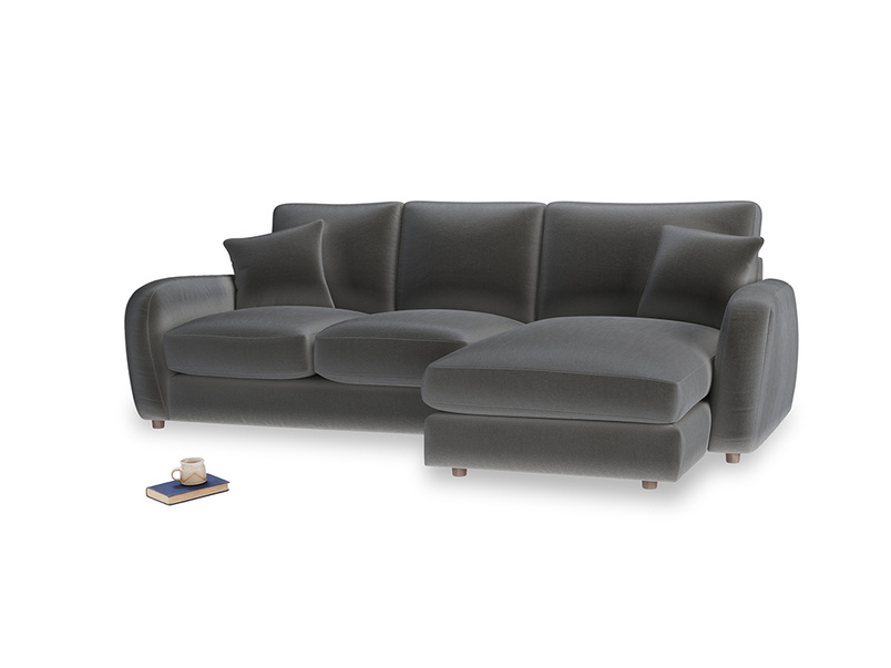Large right hand Easy Squeeze Chaise Sofa in Steel clever velvet