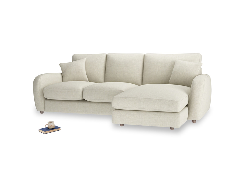 Large right hand Easy Squeeze Chaise Sofa in Stone Vintage Linen