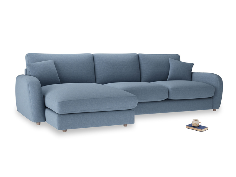 XL Left Hand  Easy Squeeze Chaise Sofa in Nordic blue brushed cotton