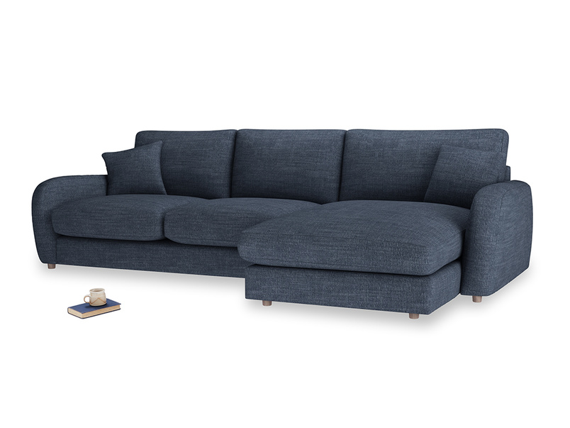 XL Right Hand  Easy Squeeze Chaise Sofa in Selvedge Blue Clever Laundered Linen