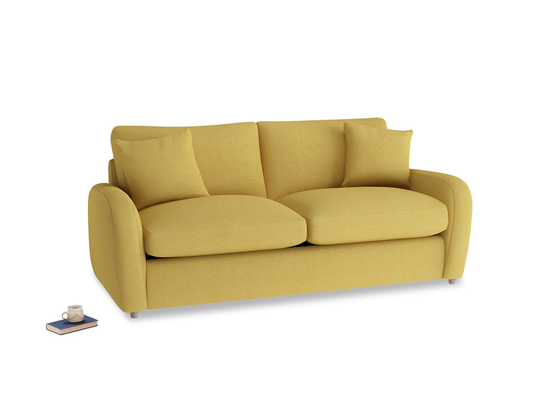 Medium Easy Squeeze Sofa Bed in Easy Yellow Clever Woolly Fabric