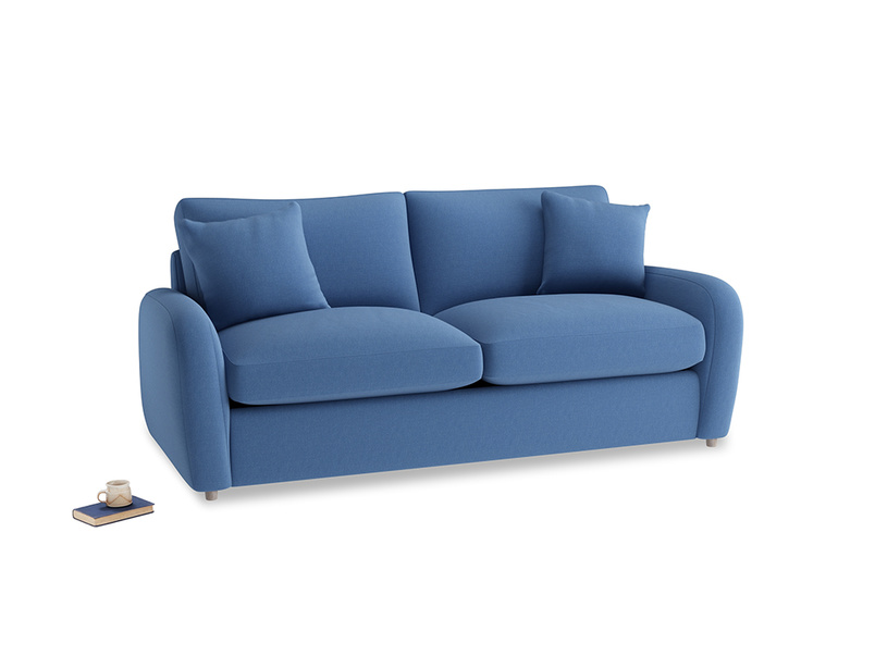 Medium Easy Squeeze Sofa Bed in English blue Brushed Cotton