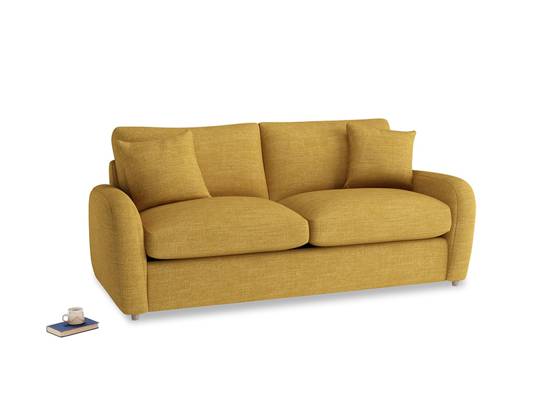 Medium Easy Squeeze Sofa Bed in Mellow Yellow Clever Laundered Linen