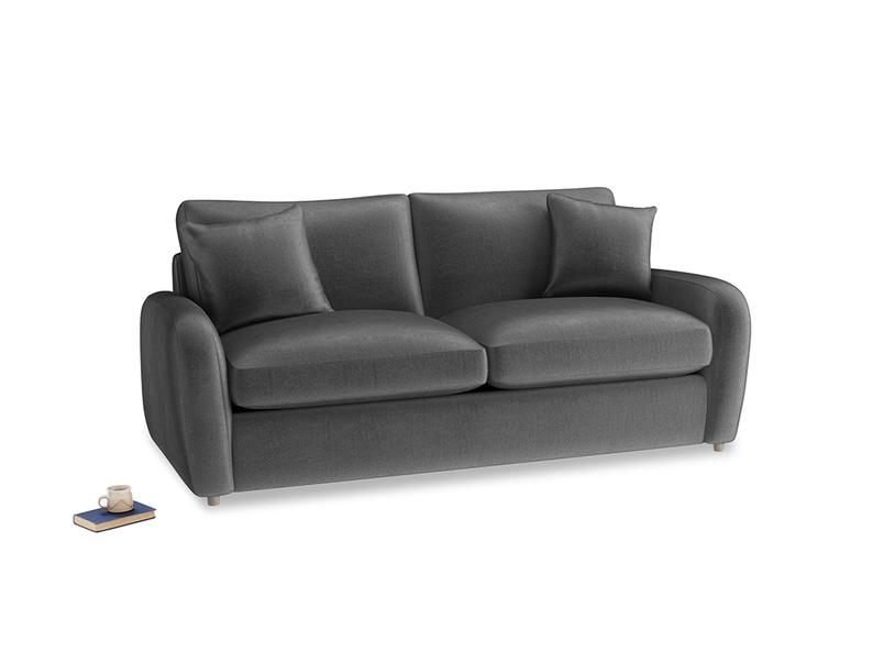 Medium Easy Squeeze Sofa Bed in Scuttle grey vintage velvet