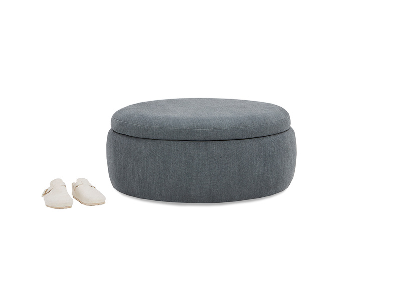 Pot Pie Upholstered Storage Footstool closed