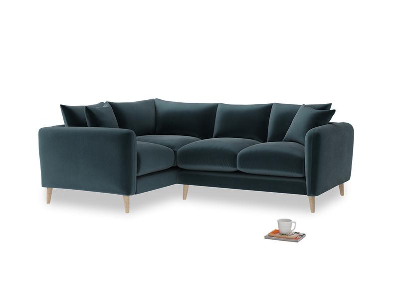 Large Left Hand Squishmeister Corner Sofa in Bluey Grey Clever Deep Velvet