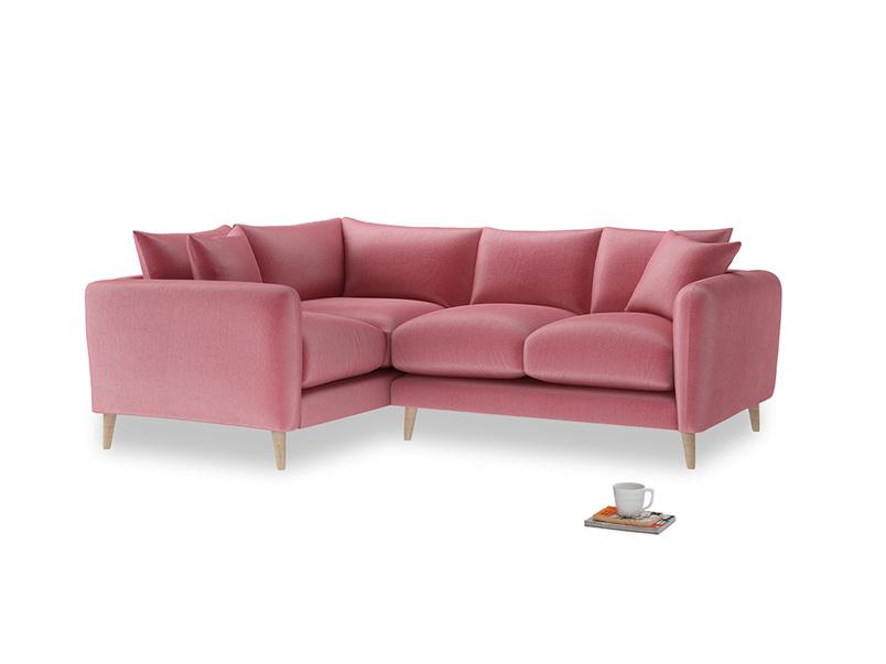 Large Left Hand Squishmeister Corner Sofa in Blushed pink vintage velvet