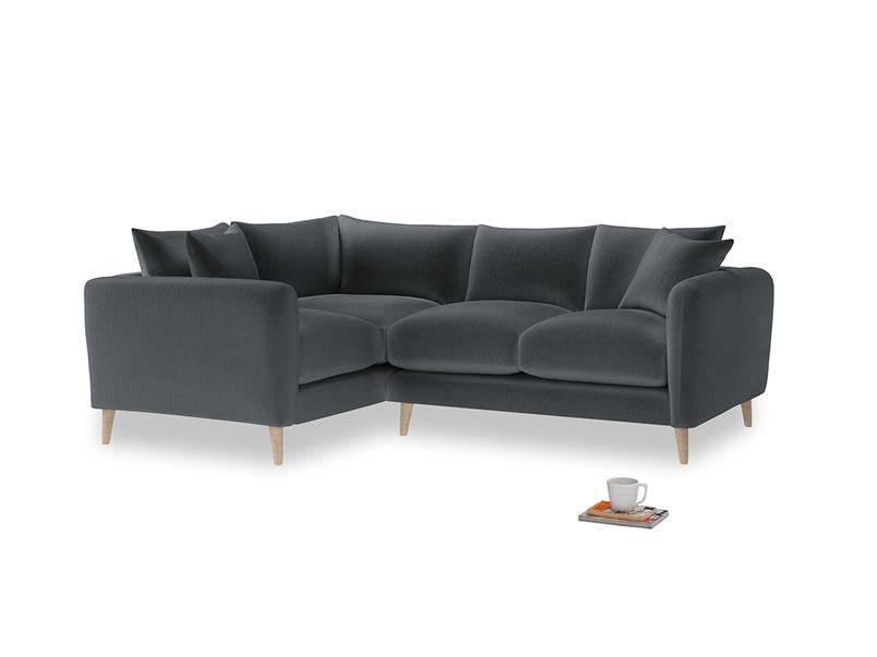 Large Left Hand Squishmeister Corner Sofa in Dark grey Clever Deep Velvet