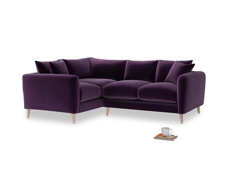 Large Left Hand Squishmeister Corner Sofa in Deep Purple Clever Deep Velvet