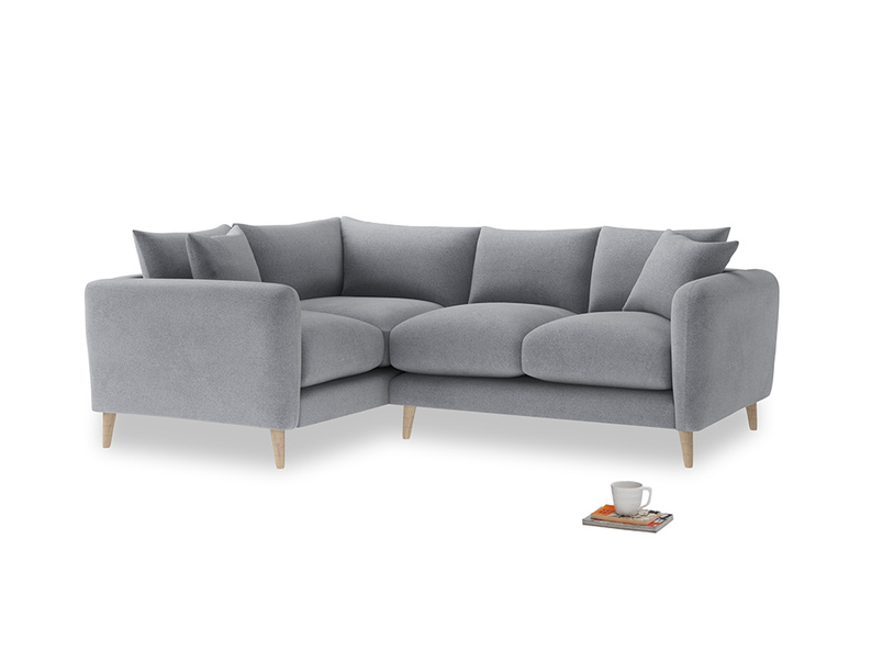 Large Left Hand Squishmeister Corner Sofa in Dove grey wool