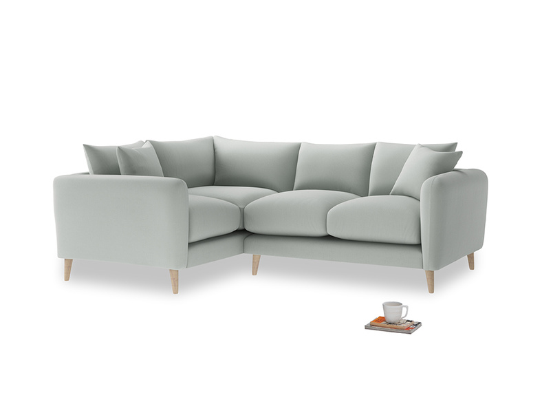 Large Left Hand Squishmeister Corner Sofa in Eggshell grey clever cotton