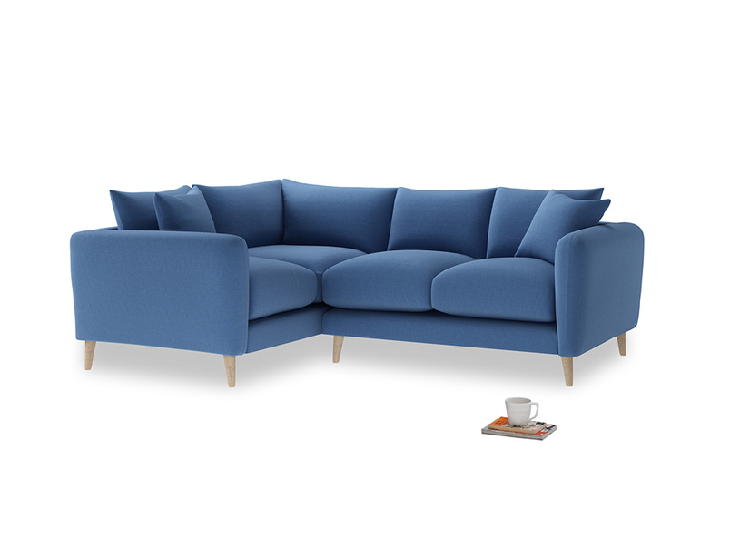 Large Left Hand Squishmeister Corner Sofa in English blue Brushed Cotton