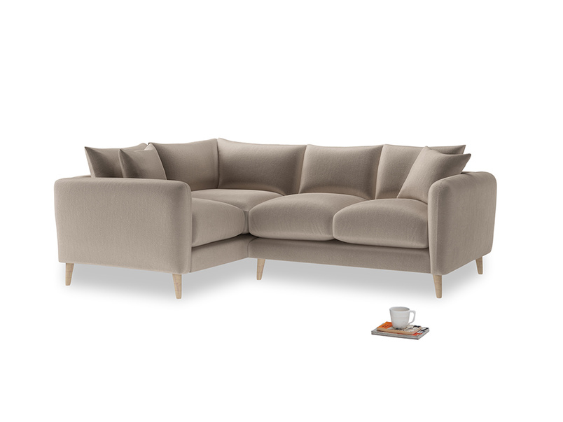 Large Left Hand Squishmeister Corner Sofa in Fawn clever velvet