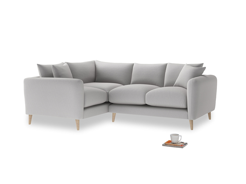 Large Left Hand Squishmeister Corner Sofa in Flint brushed cotton