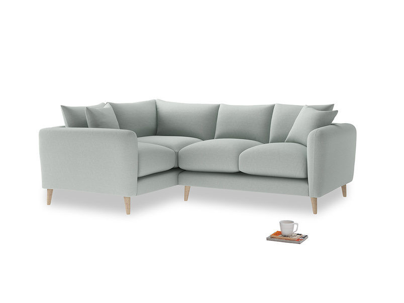Large Left Hand Squishmeister Corner Sofa in French blue brushed cotton