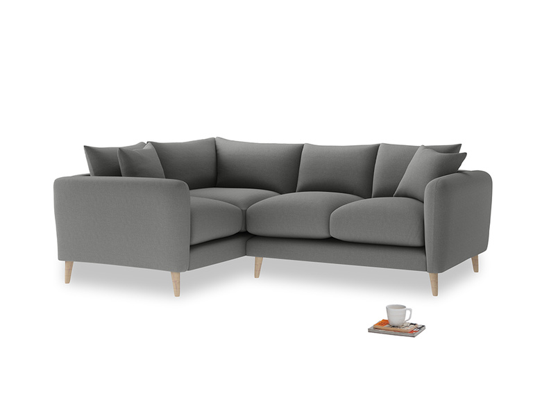 Large Left Hand Squishmeister Corner Sofa in French Grey brushed cotton