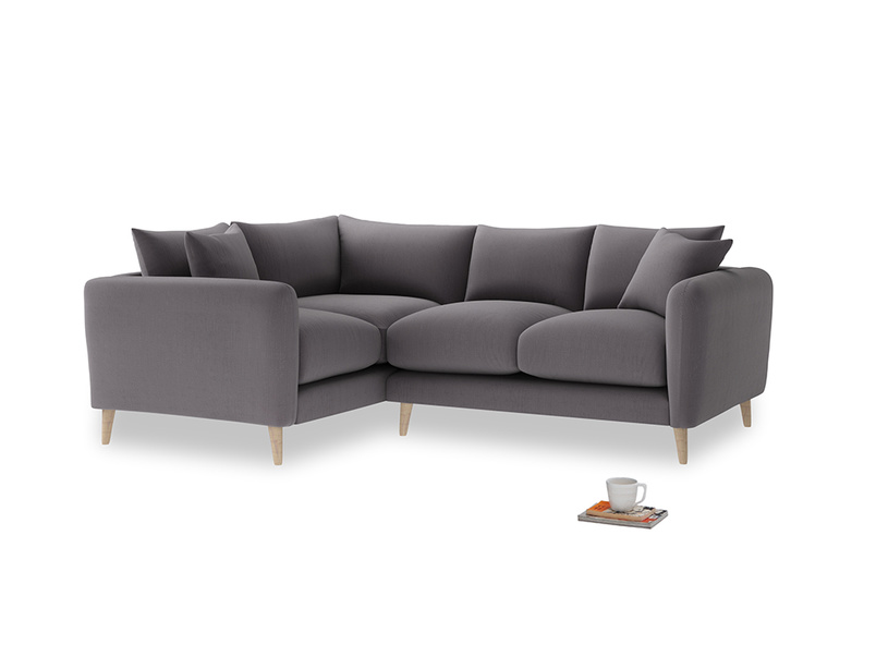 Large Left Hand Squishmeister Corner Sofa in Graphite grey clever cotton