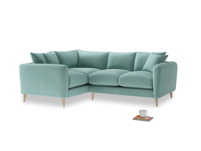 Large Left Hand Squishmeister Corner Sofa in Greeny Blue Clever Deep Velvet