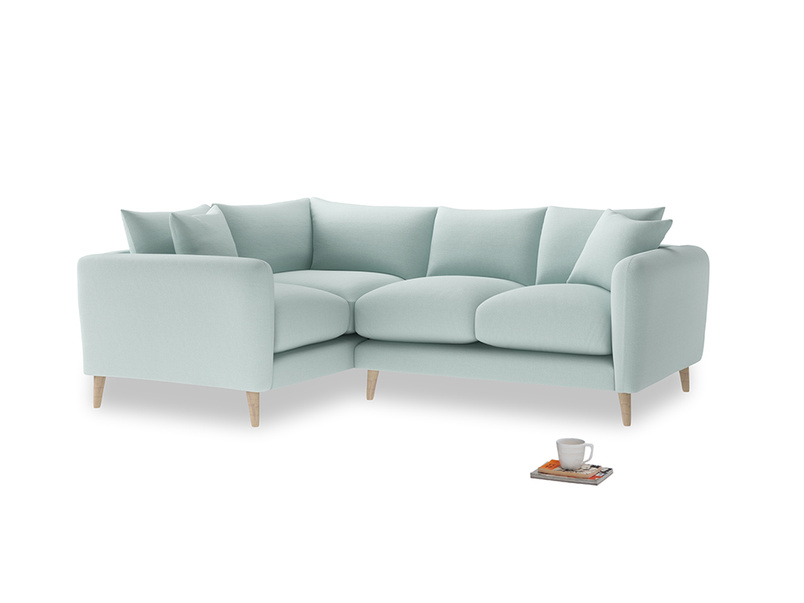 Large Left Hand Squishmeister Corner Sofa in Gull's Egg Brushed Cotton