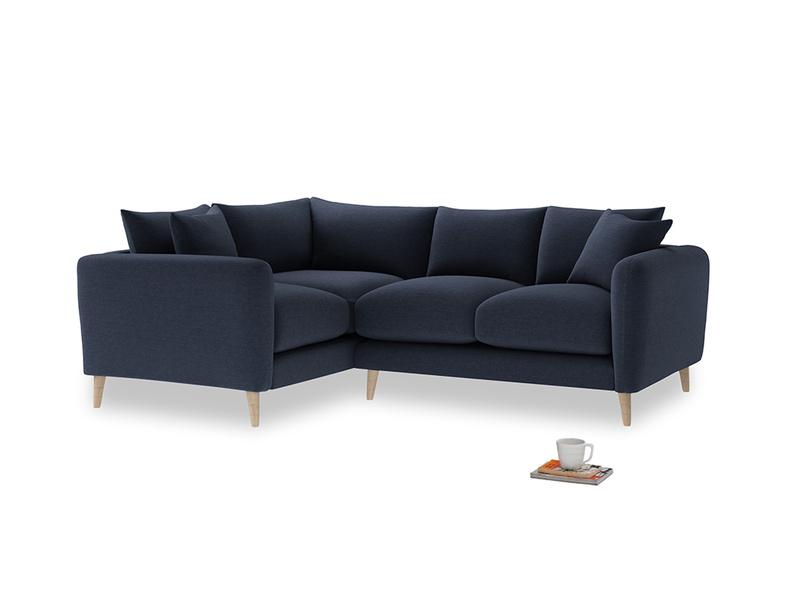 Large Left Hand Squishmeister Corner Sofa in Indigo vintage linen