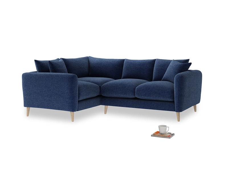 Large Left Hand Squishmeister Corner Sofa in Ink Blue wool
