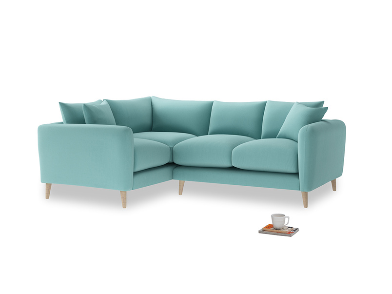 Large Left Hand Squishmeister Corner Sofa in Kingfisher clever cotton
