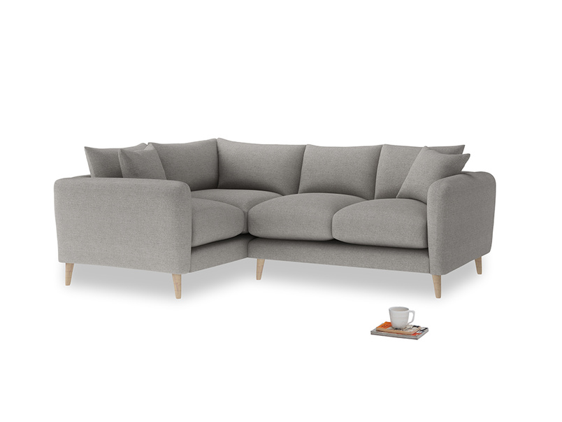 Large Left Hand Squishmeister Corner Sofa in Marl grey clever woolly fabric