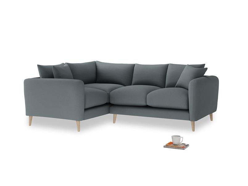 Large Left Hand Squishmeister Corner Sofa in Meteor grey clever linen