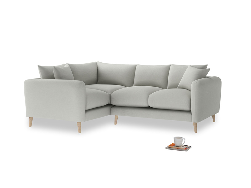 Large Left Hand Squishmeister Corner Sofa in Mineral grey clever linen