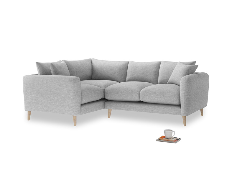 Large Left Hand Squishmeister Corner Sofa in Mist cotton mix