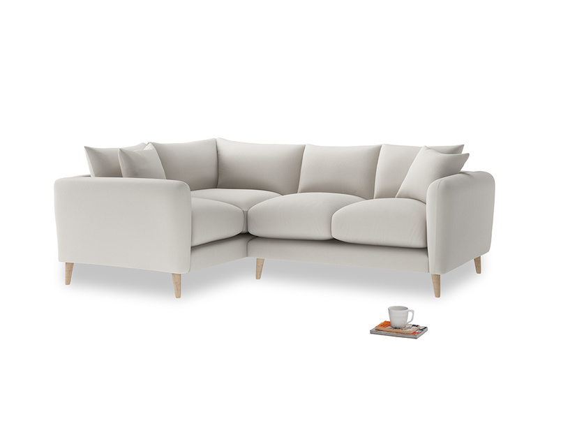 Large Left Hand Squishmeister Corner Sofa in Moondust grey clever cotton