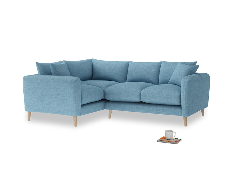 Large Left Hand Squishmeister Corner Sofa in Moroccan blue clever woolly fabric
