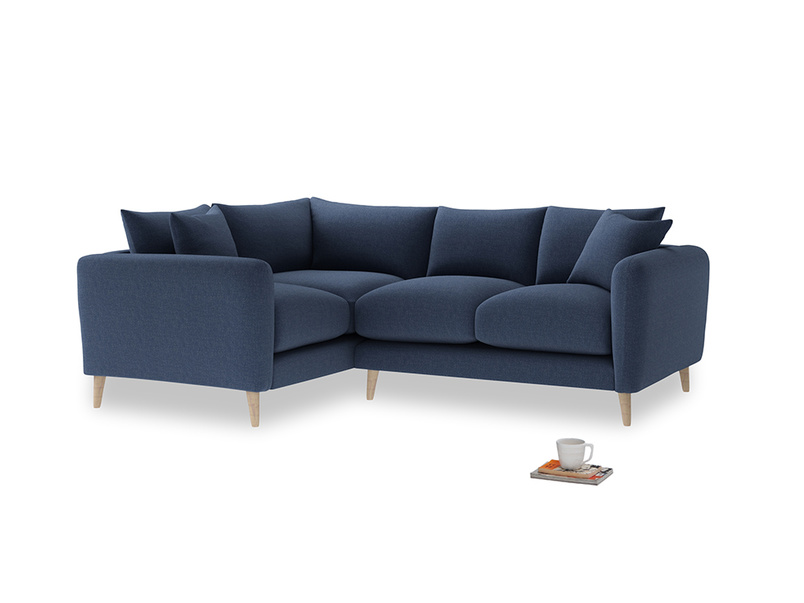 Large Left Hand Squishmeister Corner Sofa in Navy blue brushed cotton