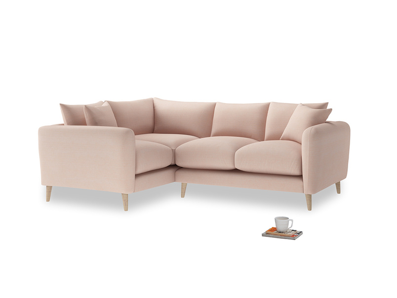 Large Left Hand Squishmeister Corner Sofa in Pink clay Clever Softie