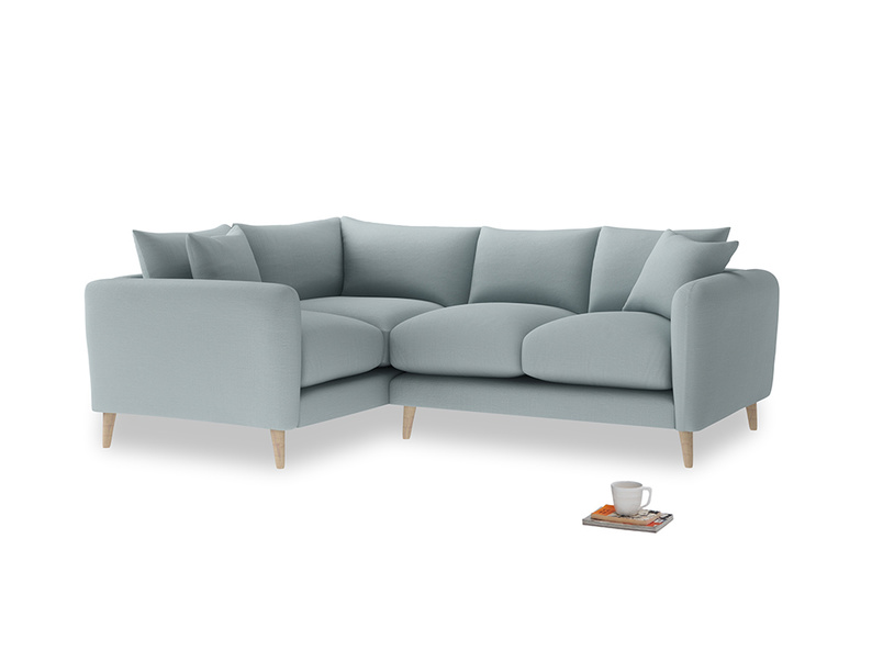 Large Left Hand Squishmeister Corner Sofa in Quail's egg clever linen
